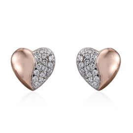 J Francis - Rose Gold Overlay Sterling Silver (Rnd) Heart Stud Earrings (with Push Back) Made with SWAROVSKI ZIRCONIA
