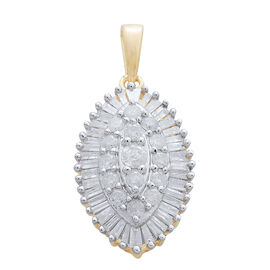 9K Yellow Gold 1 Carat Diamond Cluster Pendant SGL Certified I3 G-H