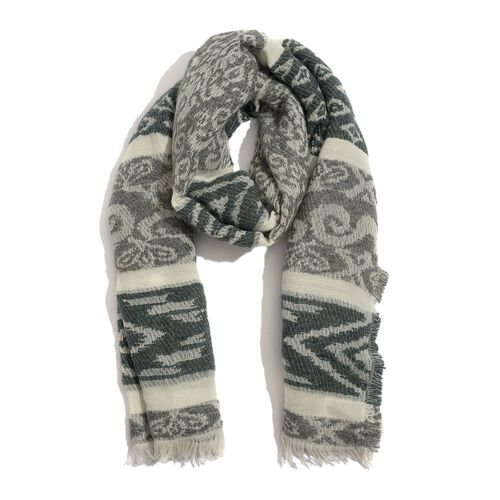 WINTER SPECIAL Mohair, Acro and Cotton Grey and White Colour Geometric Pattern Scarf (Size 190x75 Cm)