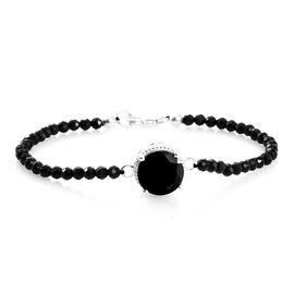 Boi Ploi Black Spinel (Rnd) Bracelet (Size 7.5) in Platinum Overlay Sterling Silver 5.00 Ct.