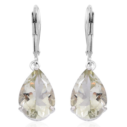 Green Amethyst (Pear) Lever Back Earrings in Rhodium Plated Sterling Silver 9.000 Ct.