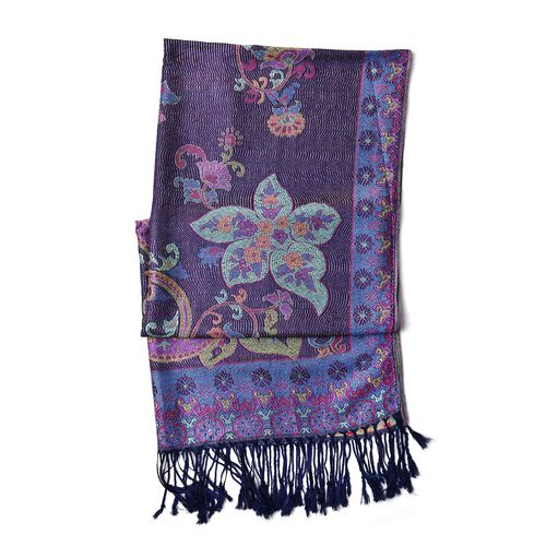 Navy, Purple and Multi Colour Floral and Paisley Pattern Scarf with Tassels (Size 170X68 Cm)