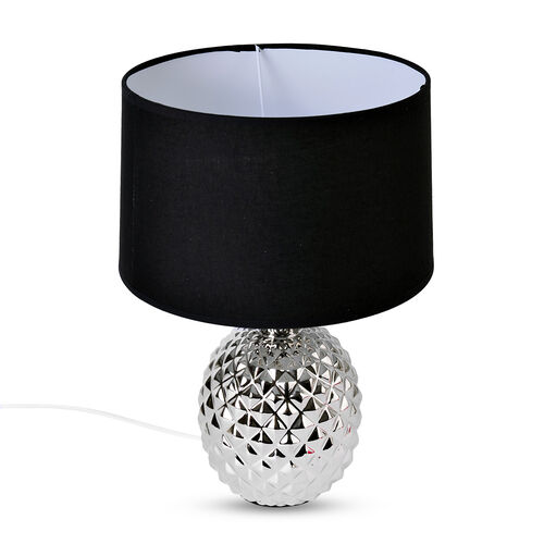 Home Decor - Silver Plating Colour Ceramic Stone Pineapple Shape Table Lamp (Size 39x26x10 Cm)
