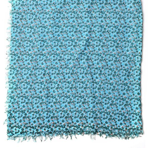 Small Floral Pattern Green and Blue Colour Scarf (Size 180x90 Cm)