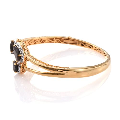 Natural Zawadi Golden Sheen Sapphire (Ovl), Diamond Bangle (Size 7.5) in 14K Gold Overlay Sterling Silver 12.750 Ct.