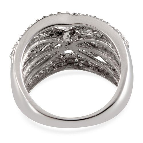 Simulated Diamond (Rnd) Ring in Platinum Overlay Sterling Silver