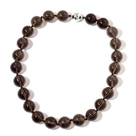 Rare Size (Rnd 18 mm) Brazilian Smoky Quartz Necklace (Size 20 inch) with Magnetic Clasp in Rhodium Plated Sterling Silver 969.500 Ct.