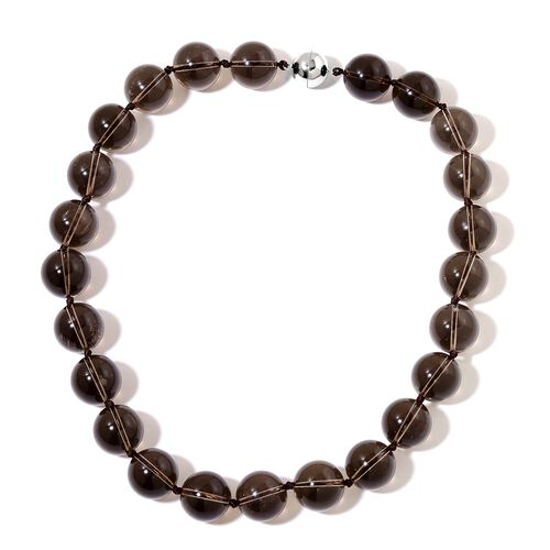 One Time Deal-  Rare Size (Rnd 18 mm) Brazilian Smoky Quartz  Necklace (Size 20 inch) with Magnetic Clasp in Rhodium Plated Sterling Silver 969.500 Ct.