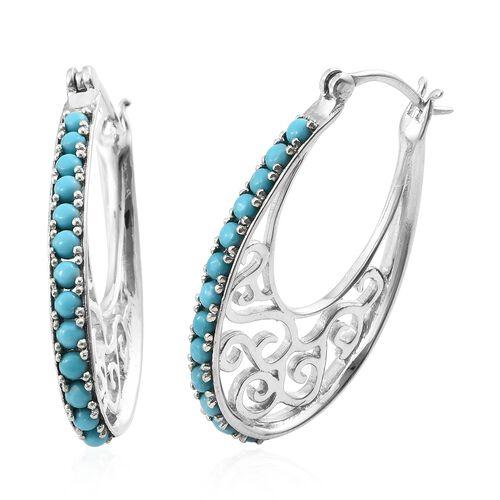 Arizona Sleeping Beauty Turquoise (Rnd) Hoop Earrings in Platinum Overlay Sterling Silver 2.000 Ct. Silver wt 9.63 Gms.