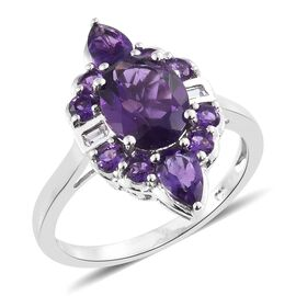 Lusaka Amethyst (Ovl 2.35 Ct), White Topaz Ring in Platinum Overlay Sterling Silver 3.750 Ct.