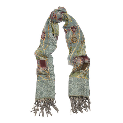 Close Out Deal - Hand Embroidered Adda Work from India -  Grey, Green and Multi Colour Floral Pattern Hand Embroidered Scarf with Tassels (Size 200X67 Cm)