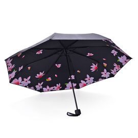 Black, Pink and Multi Colour Magnolia Floral Pattern Three Fold Umbrella with Ultaviolet protective Coating (Size 24.50 Cm)