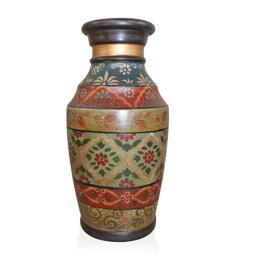 Red, Brown and Mughal Multi Colour Beautifully Hand-Painted Terracotta Decorative Pot (Size 36 Cm)