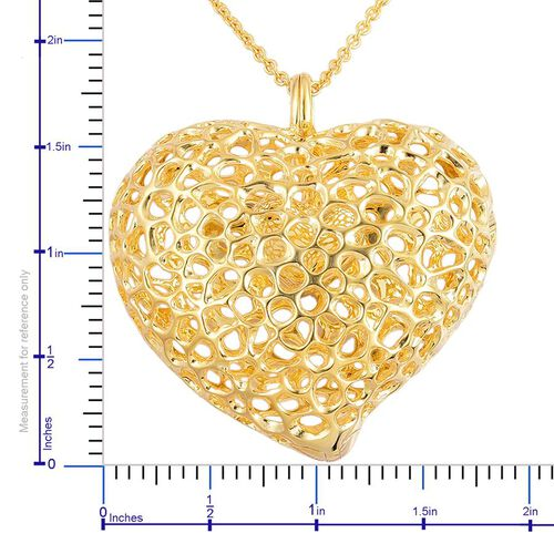 RACHEL GALLEY Yellow Gold Overlay Sterling Silver Amore Heart Lattice Pendant With Chain (Size 30), Silver wt 33.23 Gms.