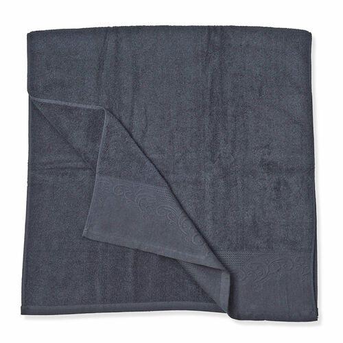 Set of 4 - 100% Cotton Black Colour 1 Bath Towel (Size 130x65 Cm), 2 Face Towel (Size 65x50 Cm) and 1 Hand Towel (Size 33x33 Cm) with Filigree Pattern at the Border