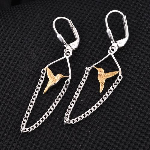 Yellow Gold and Platinum Overlay Sterling Silver Bird Lever Back Earrings