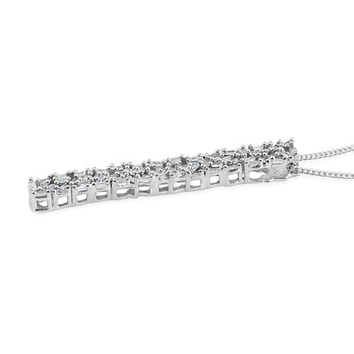 Diamond (Bgt) Pendant with Chain in Platinum Overlay Sterling Silver 0.331 Ct.