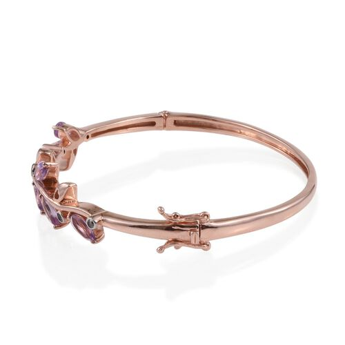Rose De France Amethyst (Mrq), Natural Cambodian Zircon Leaves Bangle (Size 7.5) in Rose Gold Overlay Sterling Silver 3.450 Ct.