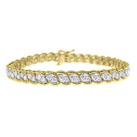 Limited Available- 9K Y Gold Diamond (Rnd) (I3/G-H) Bracelet (Size 7.25) 3.000 Ct. Gold Wt 12.80 Gms