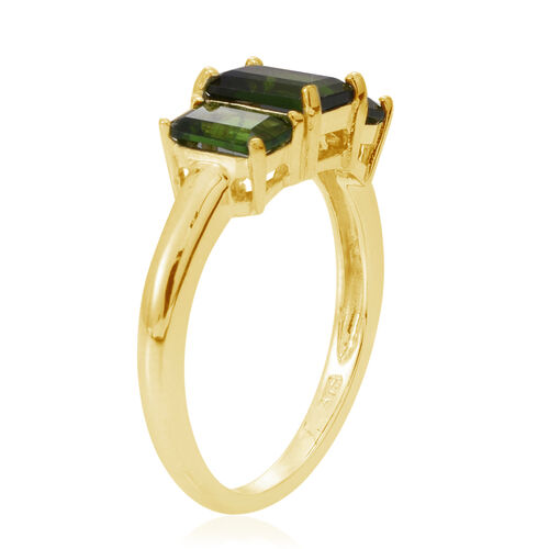 Russian Diopside (Oct 1.00 Ct) 3 Stone Ring in Yellow Gold Overlay Sterling Silver 2.250 Ct.