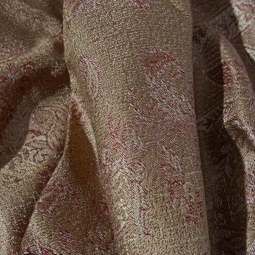 SILK MARK - 100% Superfine Silk Coper and Red Colour Flower Pattern Jacquard Jamawar Scarf with Tassels (Size 180x70 Cm) (Weight 125 - 140 Gms)