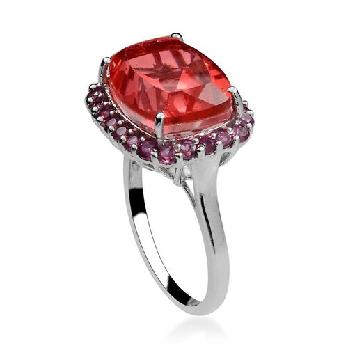 Amits Special Deal - Padparadscha Quartz (Cush 10.25 Ct), Rhodolite Garnet Ring in Platinum Overlay Sterling Silver 11.500 Ct.