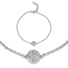 Diamond 0.25 Ct Silver Pave Disc Bracelet (Size 7.5 with Half inch Extender) in Platinum Overlay