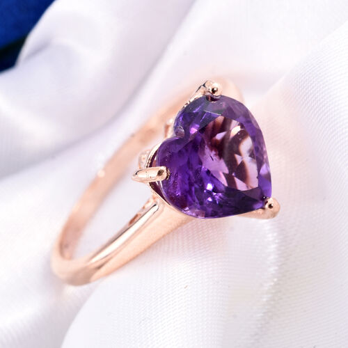 Amethyst 3 Carat Silver Heart Ring in Rose Gold Overlay