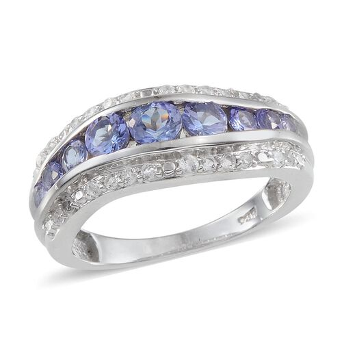Tanzanite (Rnd), White Topaz Ring in Platinum Overlay Sterling Silver 1.100 Ct.