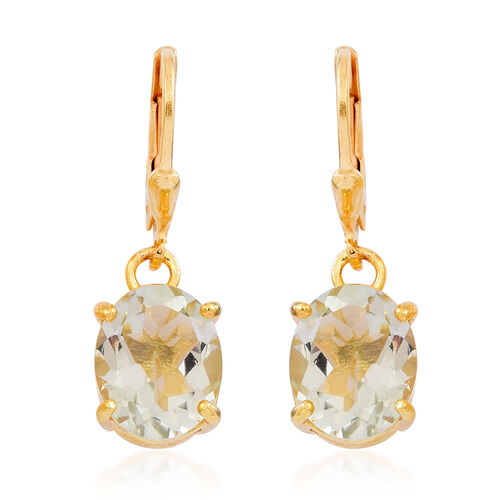 Green Amethyst (Ovl) Lever Back Earrings in 14K Gold Overlay Sterling Silver 5.000 Ct.