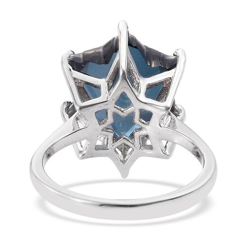 LIMITED EDITION STELLARIS CUT Indicolite Quartz Solitaire Ring in Platinum Overlay Sterling Silver 7.000 Ct.