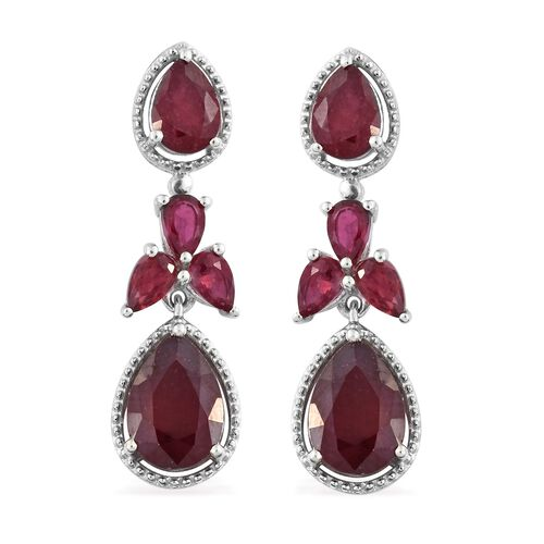 African Ruby (Pear) Dangling Earrings (with Push Back) in Platinum Overlay Sterling Silver 10.000 Ct.