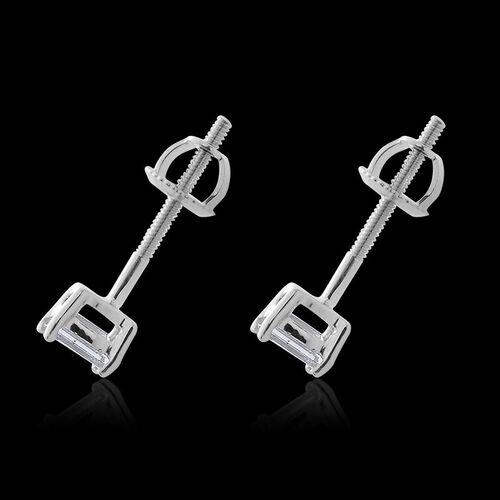 ILIANA 18K White Gold IGI Certified Emerald Cut Diamond Stud Earrings (SI/G-H) 0.400 Ct.