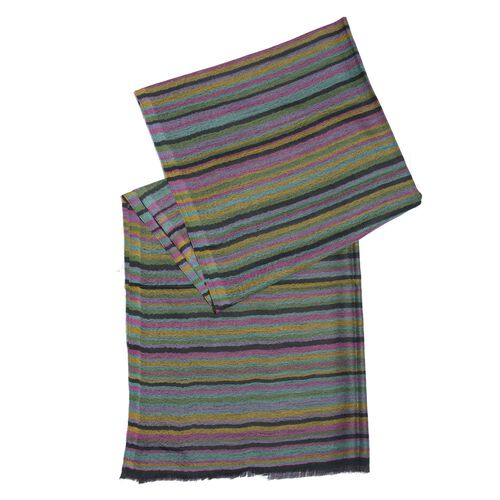 88% Merino Wool and 12% Silk Black, Purple and Multi Colour Stripe Pattern Shawl with Fringes at the Bottom (Size 180x70 Cm)