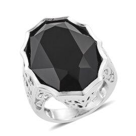 J Francis Crystal from Swarovski - Jet Crystal (Ovl) Ring in Platinum Overlay Sterling Silver