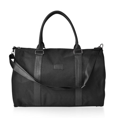 Classic Black Unisex Large Travel Bag with Adjustable Shoulder Strap (Size 46X30X22 Cm)