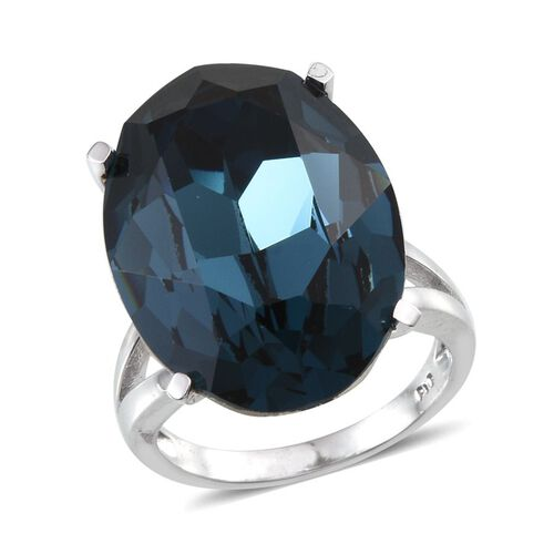 J Francis Crystal from Swarovski - Montana Crystal (Ovl) Ring in ION Plated Platinum Bond