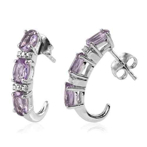 Rose De France Amethyst (Ovl) J Hoop Earrings (with Push Back) in Platinum Overlay Sterling Silver 2.250 Ct.