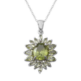 Very Rare Manchurian Peridot (Ovl) Pendant with Chain in Rhodium Plated Sterling Silver 4.750 Ct.