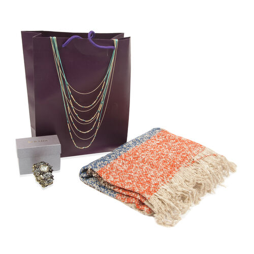 Coral and Multi Colour Scarf (Size 65x195 Cm), STRADA Japanese Movement White Dial Floral Enameled Bangle Watch in Bronze Tone with Grey Austrian Crystal and Multi Strand Necklace in Gold Tone