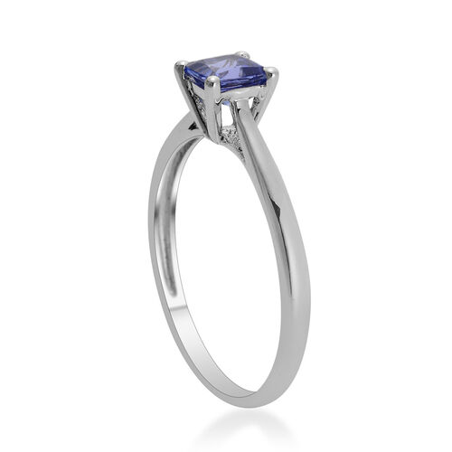 14K W Gold Tanzanite (Sqr) Solitaire Ring 0.750 Ct.