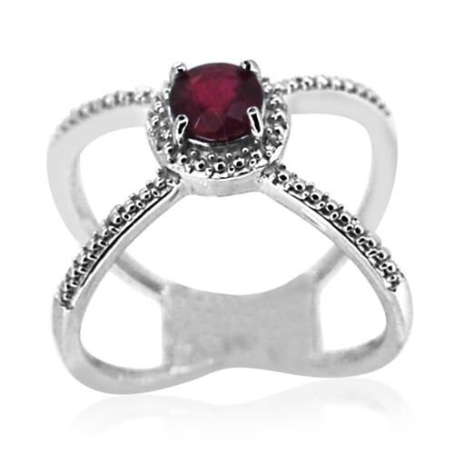 African Ruby (Rnd) Solitaire Ring in Rhodium Plated Sterling Silver 1.330 Ct.