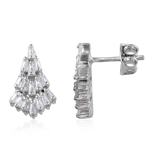 J Francis - Platinum Overlay Sterling Silver (Bgt) Earrings (with Push Back) Made with SWAROVSKI ZIRCONIA
