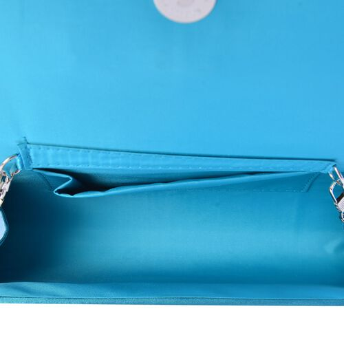 Blue Satin Bow Clutch with Removable Chain Strap (Size 30x10 Cm)