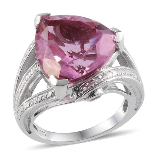 Kunzite Colour Quartz (Trl 12.50 Ct), Mahenge Pink Spinel and Diamond Ring in Platinum Overlay Sterling Silver 12.620 Ct.