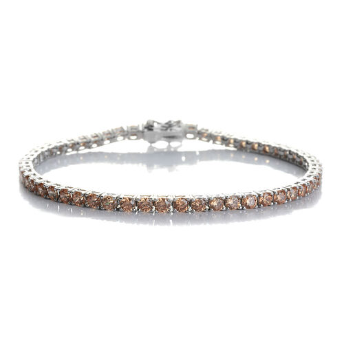 AAA Simulated Champagne Diamond (Rnd) Bracelet in Sterling Silver (Size 7.5) 5.600 Ct.