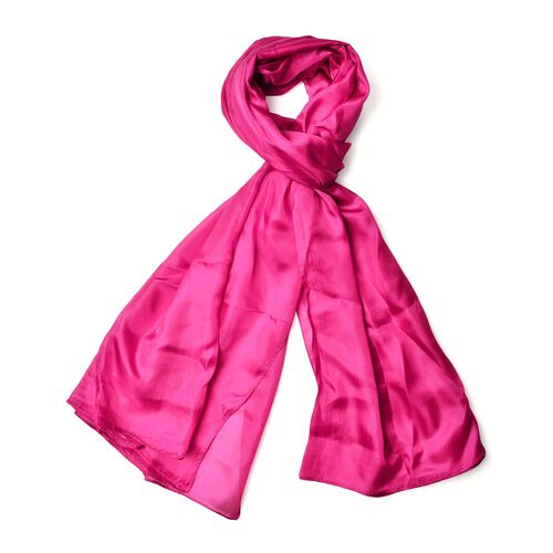 New Season-100% Mulberry Silk Pantone Fuchsia Colour Scarf (Size 180x110 Cm)