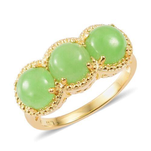 Green Jade (Rnd) Trilogy Ring in Yellow Gold Overlay Sterling Silver 6.500 Ct.