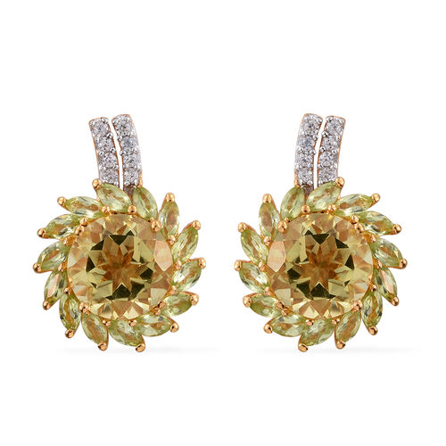 Natural Green Gold Quartz (Rnd), Hebei Peridot and Natural Cambodian Zircon Floral Stud Earrings (with Push Back) in 14K Gold Overlay Sterling Silver 9.750 Ct.