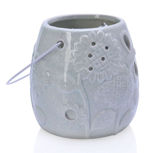 Blue Colour Sunflower Pattern Ceramic Lantern